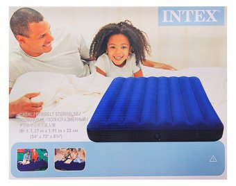 Матрас надувной Intex 68758 Classic Downy Full синий 137х191х22см 10006